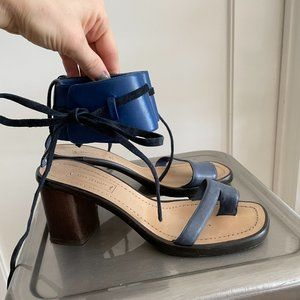 Reed Krakoff Blue Sandals with Wooden Heel